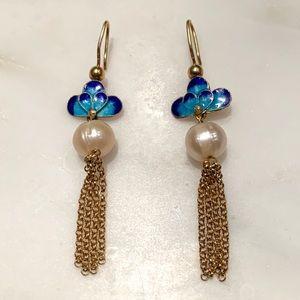 Anthropologie blue sky and pearl earrings w/fringe